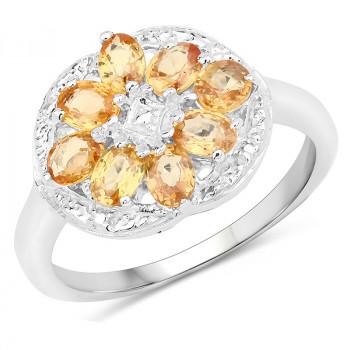 Inel floare din argint si safire galbene