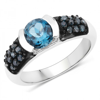 Inel din argint, topaz londonez si diamante albastre
