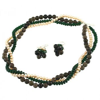 Set multisir perle naturale, cuart fumuriu si jad verde