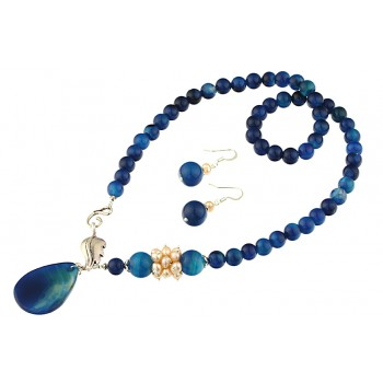 Set asimetric agat albastru si perle de cultura