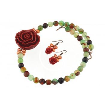 Set asimetric din agat, perle de cultura si trandafiri coral
