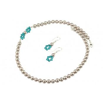 Set asimetric din cristale Swarovski si perle de Mallorca