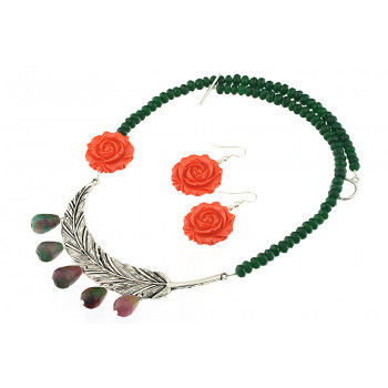 Set asimetric din jad si trandafiri coral