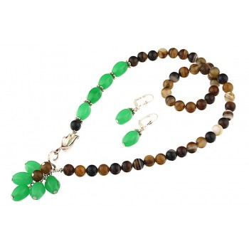 Set asimetric din jad verde si agat maro