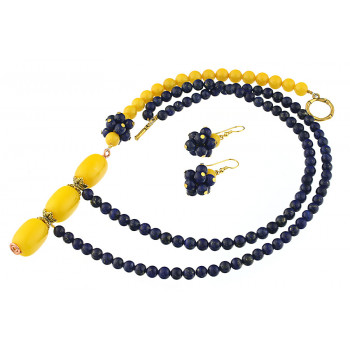 Set asimetric din lapis lazuli si jad galben