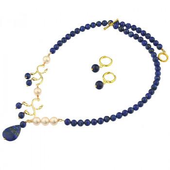 Set asimetric din lapis lazuli si perle de Mallorca