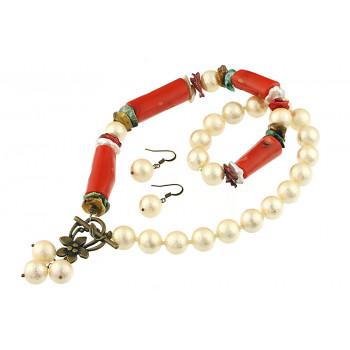 Set asimetric din perle de Mallorca, coral si perle Biwa