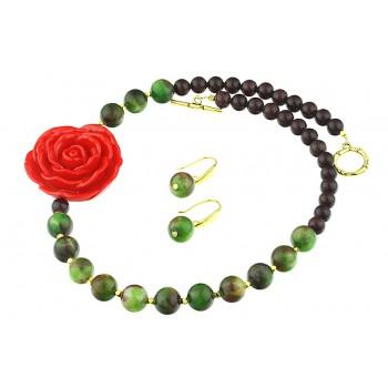 Set asimetric din trandafir coral si jad curcubeu