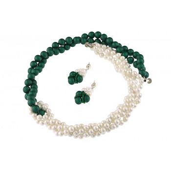 Set rasucit din perle de Mallorca albe-verzi