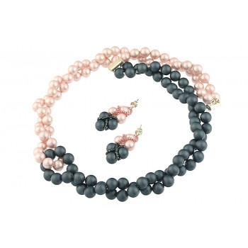 Set rasucit din perle de Mallorca roz-albastre