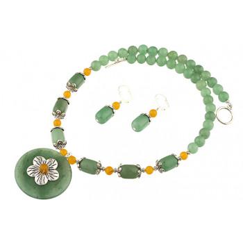 Set aventurin verde si jad galben