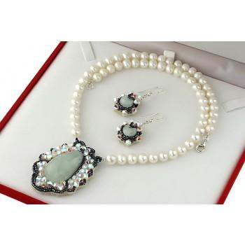 Set din acvamarin, cristale Swarovski si perle cultura