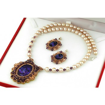 Set brodat din Paua, cristale Swarovski si perle cultura