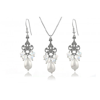 Set candelabre din argint, perle Mallorca si cristale Swarovski
