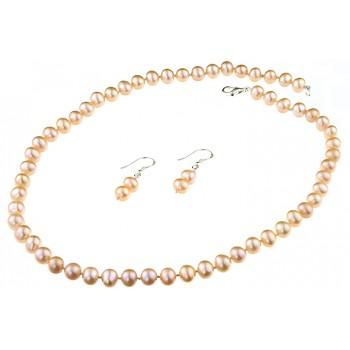 Set clasic din perle naturale crem 7 - 8 mm A