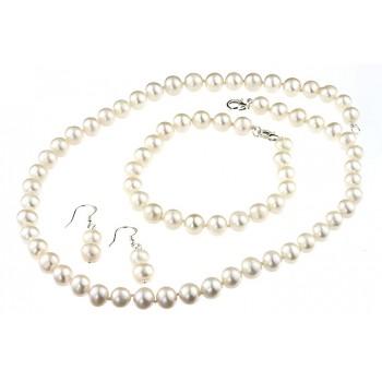 Set clasic perle naturale albe 6 - 8 mm A