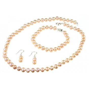 Set clasic perle naturale crem 7 - 8 mm A