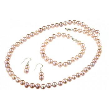 Set clasic perle naturale lila 7 - 8 mm A