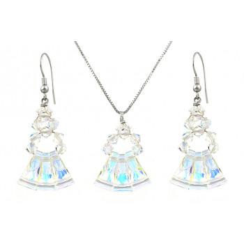 Set cristale Swarovski Aurora Borealis keystone si argint