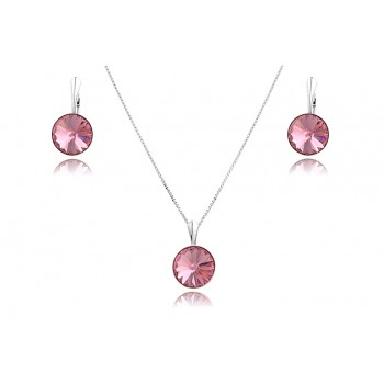 Set cristale Swarovski Light Rose si argint