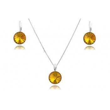 Set cristale Swarovski Sunflower si argint