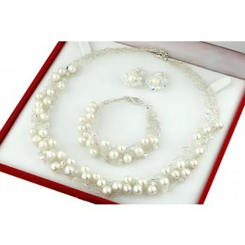 Set crosetat din perle de cultura albe, cristale Swarovski si argint