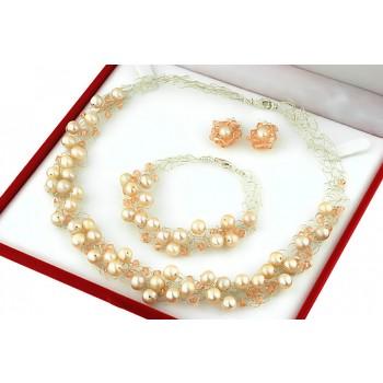 Set crosetat din perle de cultura crem, cristale Swarovski si argint