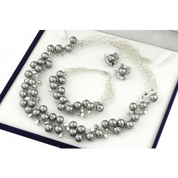 Set crosetat din perle de Mallorca gri, cristale Swarovski si argint