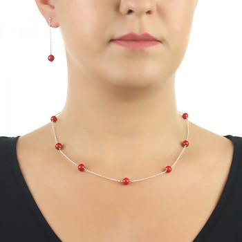 Set delicat din argint si coral rosu