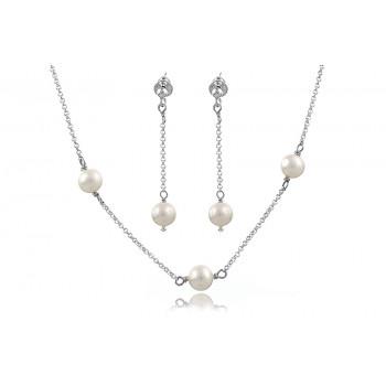 Set delicat din argint si perle de cultura albe