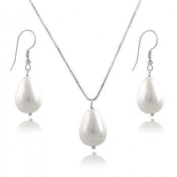 Set din argint cu perle de Mallorca albe