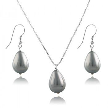 Set din argint cu perle de Mallorca gri deschis