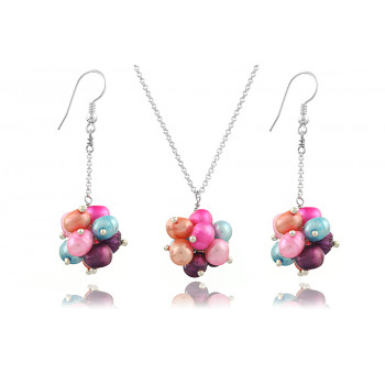 Set din argint si perle naturale multicolore