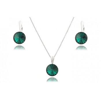 Set din argint si Swarovski Emerald