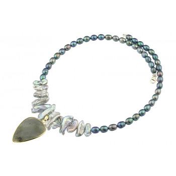 Colier din labradorit, perle naturale Biwa si perle ovale