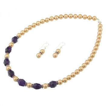 Set din perle de Mallorca aurii si ametist