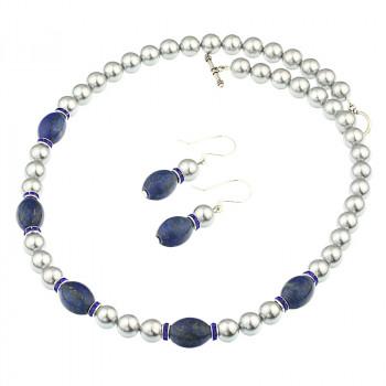 Set din perle de Mallorca gri si lapis lazuli
