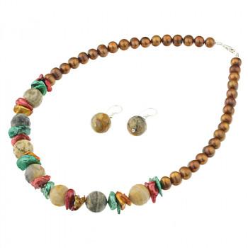 Set din perle naturale, agat crazy si argint