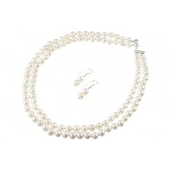 Set doua siraguri din perle naturale 6 - 8 mm A si argint