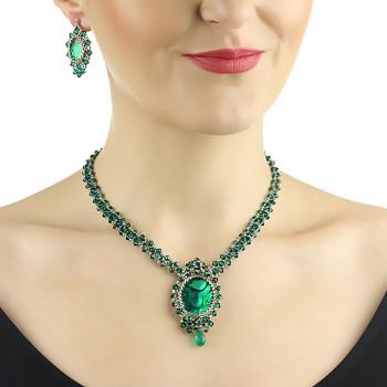 Set exclusivist din cristale Swarovski Emerald si sidef Paua