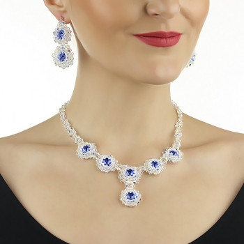 Set exclusivist din cristale Swarovski Sapphire si argint
