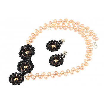 Set exclusivist din perle naturale, onix si Swarovski