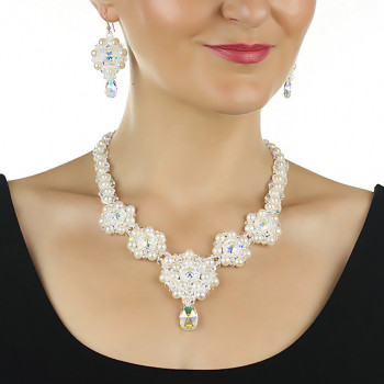 Set exclusivist din perle naturale si Swarovski - Angelina
