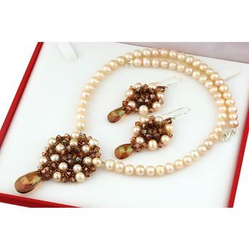 Set exclusivist din perle de cultura si cristale Swarovski