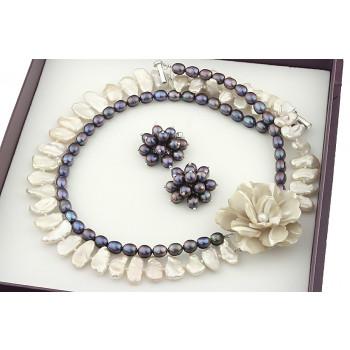 Set exclusivist din perle naturale negre si perle naturale Biwa