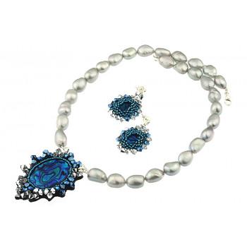 Set unicat din sidef Paua, cristale Swarovski si perle naturale