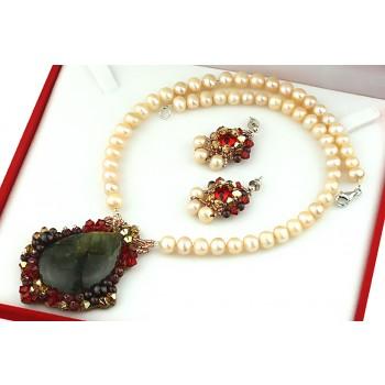 Set exclusvist labradorit, cristale Swarovski si perle