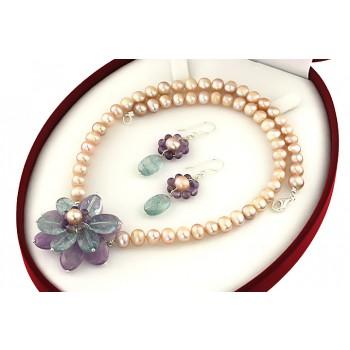 Set floare acvamarin, ametist si perle de cultura