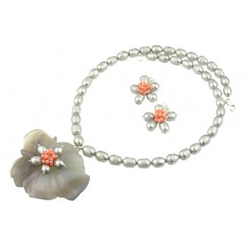 Set floare agat gri, coral roz si perle de cultura
