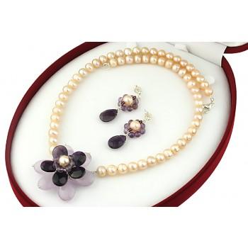 Set floare ametist si perle de cultura piersica